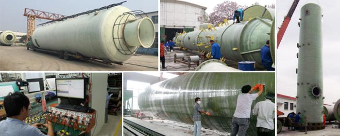 东兴玻璃钢脱硫塔生产厂房
